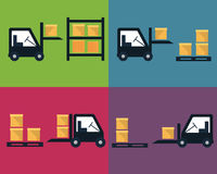 Cargo and delivery, shipping process icons Royalty Free Stock Photos