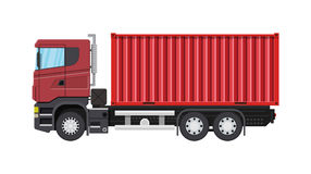 Cargo delivery truck with metal container. Royalty Free Stock Photos