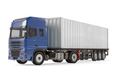Cargo delivery vehicle truck with aluminum trailer. See my other works in portfolio Stock Images