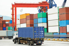 Cargo dock terminal with sea containers Stock Image