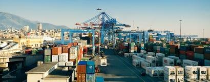 Cargo docks area. Cargo container ship panorama in Genoa, Italy Royalty Free Stock Photo