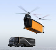 Cargo drone prepare to landing beside a hybrid truck royalty free illustration
