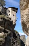 The cargo is elevate to the monastery on a rock in Meteora. The cargo is elevate to the monastery on a rock in Meteora by a rope, Greece royalty free stock photo