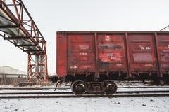 Cargo en pista de ferrocarril en Blagoveshchensk fotografía de archivo libre de regalías