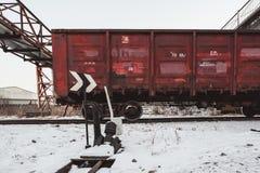 Cargo en pista de ferrocarril en Blagoveshchensk fotos de archivo libres de regalías
