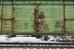 Cargo en pista de ferrocarril en Blagoveshchensk imagen de archivo