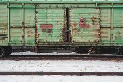 Cargo en pista de ferrocarril en Blagoveshchensk foto de archivo