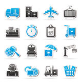 Cargo, envío e iconos logísticos Imagen de archivo