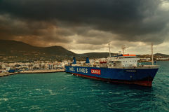 Cargo ferry at Paros Island Stock Image