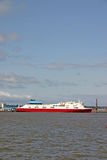 Cargo Ferry Ship on the River Mersey in Liverpool Stock Image
