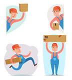 Cargo Freight Box Loading Delivery Shipment Loader Deliveryman Character Icon Cartoon Design Template Vector Royalty Free Stock Photography