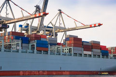 Cargo Freight Container Ship At Harbour Terminal Stock Image