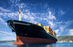 Cargo freight, container ship. In sea Stock Image
