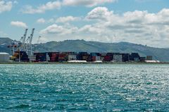 Cargo Freight Containers In Harbor royalty free stock images