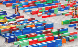 Cargo freight containers in sea port Royalty Free Stock Photo