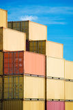 Cargo freight containers stack in harbor Stock Photos