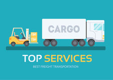 Cargo freight in flat design background concept.  Logistic equipment and delivery service. Icons for your product or Royalty Free Stock Photos