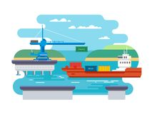 Cargo Freight Shipping by Water Stock Photos