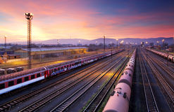 Cargo freight train railroad station Royalty Free Stock Image
