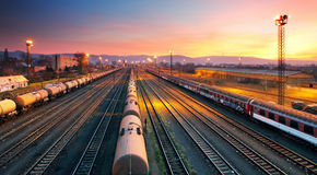 Cargo freight train railroad station Royalty Free Stock Photos