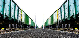 Cargo freight train. Two lines of cargo freight train Stock Photos