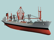 Cargo freighter. Computer image,cargo liner  3D, sea and clouds Stock Photography