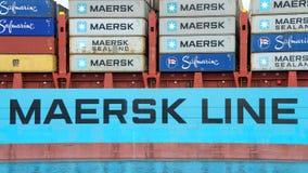 Cargo GUNVOR MAERSK entrant dans le port d'Oakland images libres de droits