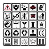 Cargo handling icons used beside the boxes and packaging Stock Images