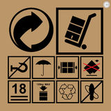 Cargo handling icons used beside the boxes and packaging Royalty Free Stock Images