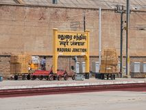 Cargo handling on Madurai rail station, India. Madurai, India - March 10, 2018: Scene at the central rail station in Madurai which is the headquarters of the royalty free stock photos