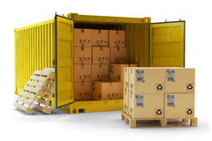 Cargo handling operation, freight transportation concept Stock Images