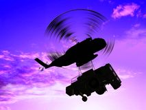 The cargo helicopter. With a cargo royalty free stock photos