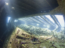 Cargo hold in an underwater shipwreck Royalty Free Stock Image