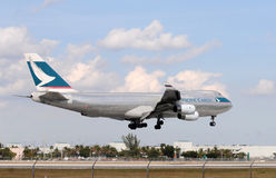Cargo jet landing at Miami International Stock Photography