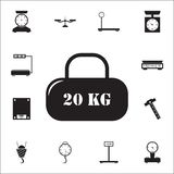 Cargo of 20 kilogramsicon. measuring elements icons universal set for web and mobile. On white background vector illustration