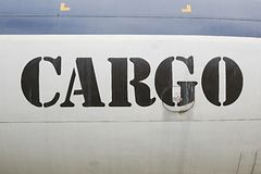Cargo label on aircraft Stock Images