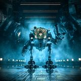 Cargo loader mech. 3D illustration of science fiction scene with female astronaut controlling heavy industrial mech robot inside dark industrial space ship royalty free illustration