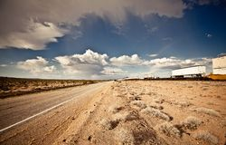 Cargo locomotive railroad in Arizona desert Stock Image