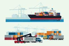 Cargo logistics truck and transportation container ship with working crane import export transport industry. illustration vector vector illustration