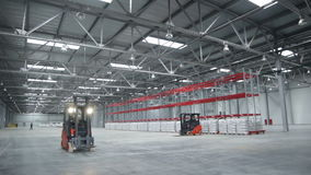 Cargo Machine Moves in Spacious Warehouse