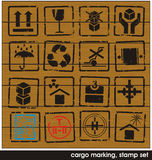 Cargo marking stamp set Stock Photo