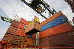 Cargo Operation aboard Container Ship Royalty Free Stock Photography