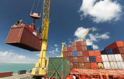 Cargo operation in port, Brazil, South America. Royalty Free Stock Photos