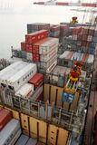 Cargo operations on a container ship in China Royalty Free Stock Photos