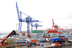 Cargo Operations On A Container Ship Royalty Free Stock Images