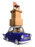 Cargo Overload. A cartoon family driving in a cartoon car carrying a load of tall stack of boxes and a chair that is strapped to the car over a white background Royalty Free Stock Photography