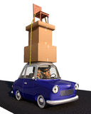 Cargo Overload. A cartoon family driving in a cartoon car carrying a load of tall stack of boxes and a chair that is strapped to the car over a white background Stock Image