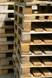 Cargo pallets. Stacks of wooden cargo shipping pallets Royalty Free Stock Photography