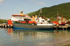 Cargo and passenger boats in the windward islands Royalty Free Stock Photo