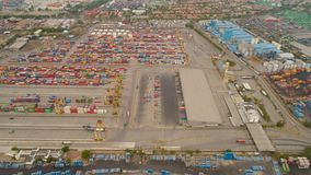 Cargo and passenger seaport in surabaya, java, indonesia. Aerial view container terminal port surabaya. cargo industrial port with containers, crane. Tanjung royalty free stock images